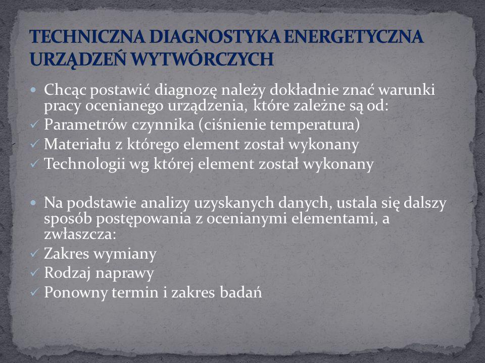 Chcąc postawić diagnozę należy dokładnie znać warunki pracy ocenianego urządzenia, które zależne są od: Parametrów czynnika (ciśnienie temperatura) Ma
