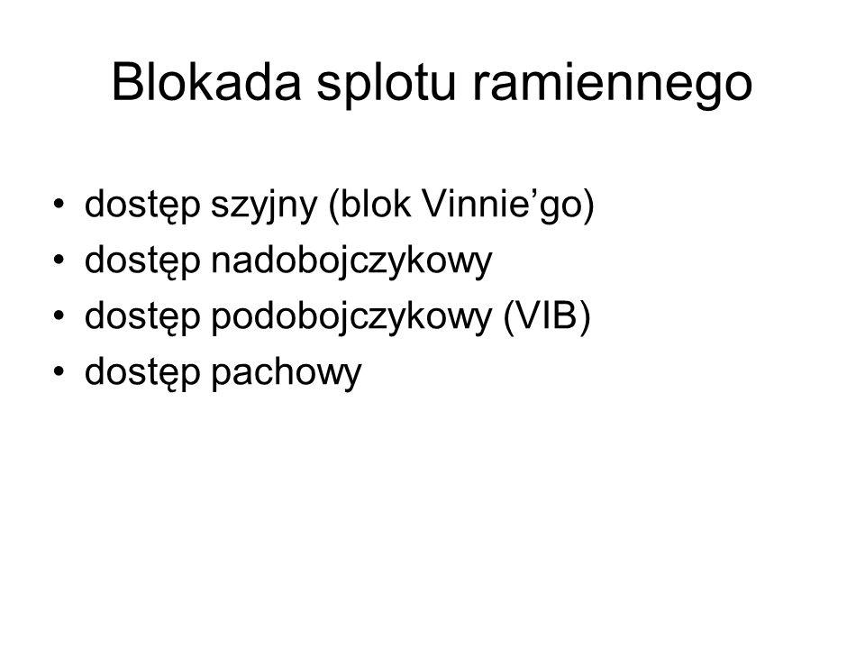 dostęp szyjny (blok Vinniego) dostęp nadobojczykowy dostęp podobojczykowy (VIB) dostęp pachowy