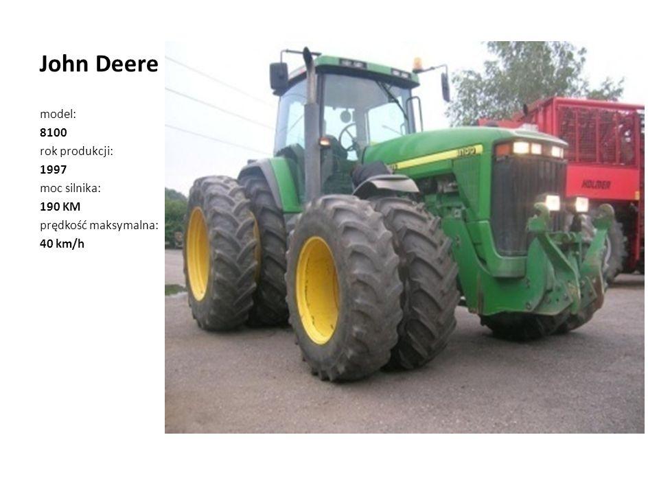 John Deere model: 8100 rok produkcji: 1997 moc silnika: 190 KM prędkość maksymalna: 40 km/h