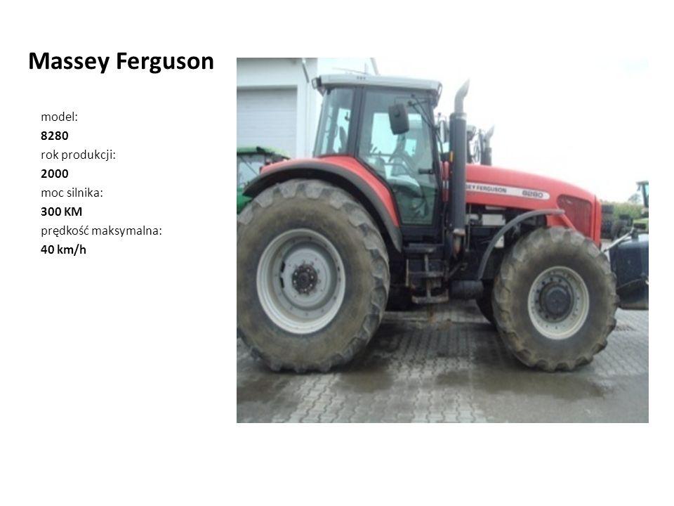 Massey Ferguson model: 8280 rok produkcji: 2000 moc silnika: 300 KM prędkość maksymalna: 40 km/h