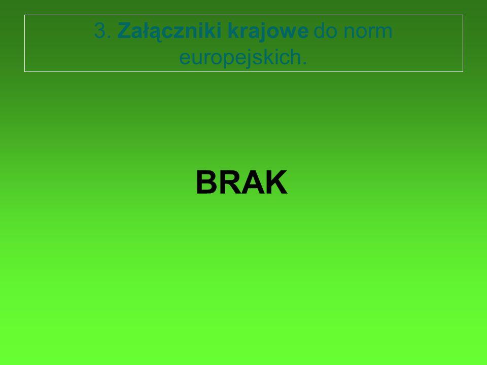 3. Załączniki krajowe do norm europejskich. BRAK