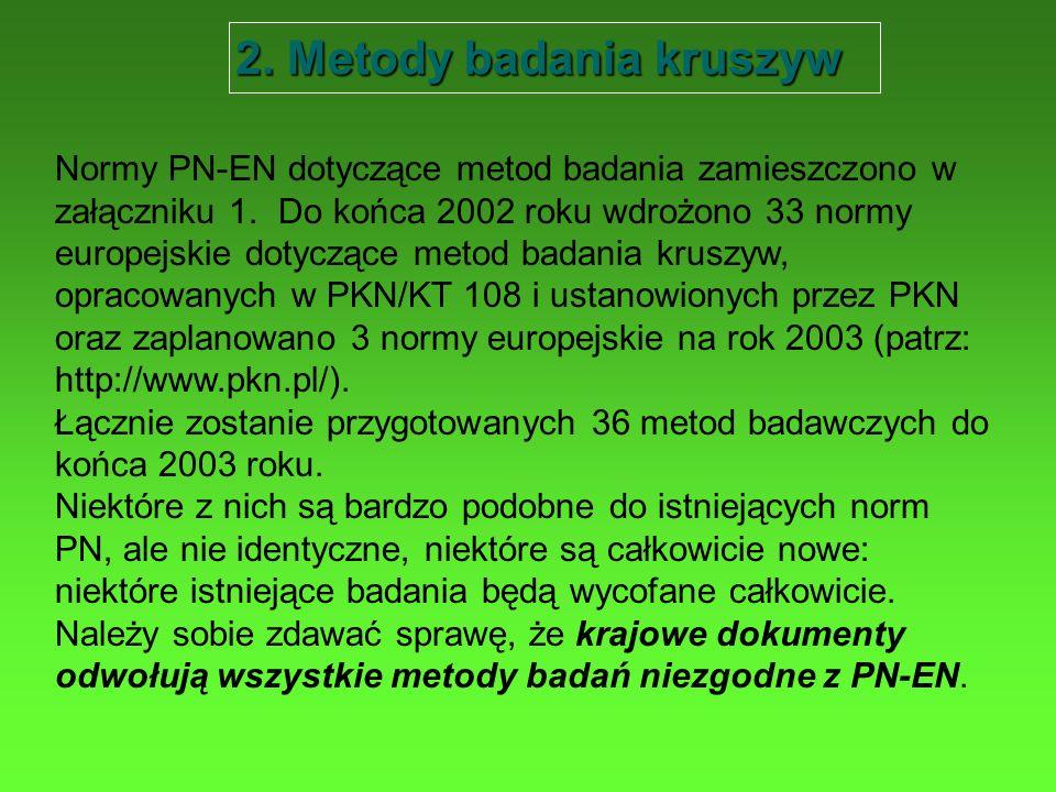 2. Metody badania kruszyw Normy PN-EN dotyczące metod badania zamieszczono w załączniku 1. Do końca 2002 roku wdrożono 33 normy europejskie dotyczące