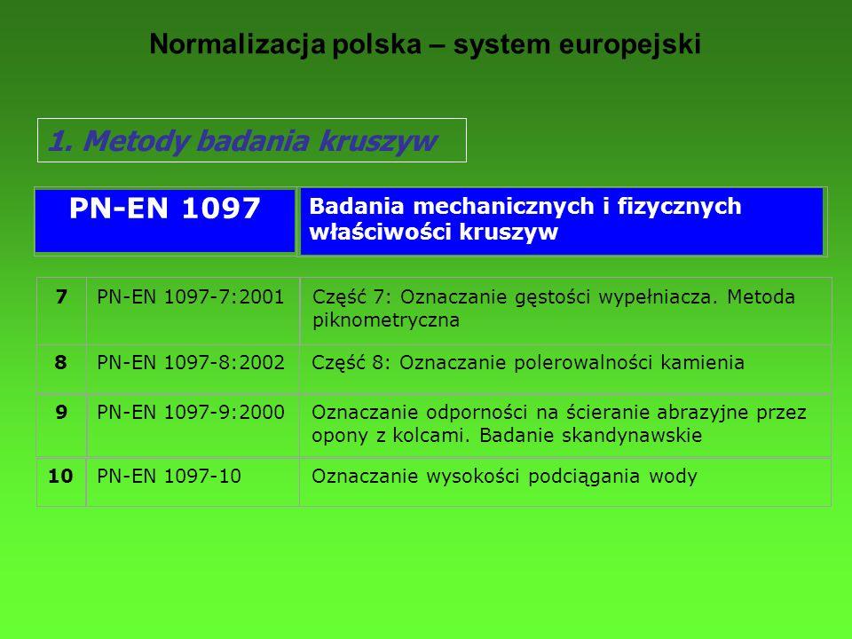 Normalizacja polska – system europejski 1. Metody badania kruszyw 7PN-EN 1097-7:2001Część 7: Oznaczanie gęstości wypełniacza. Metoda piknometryczna 8P