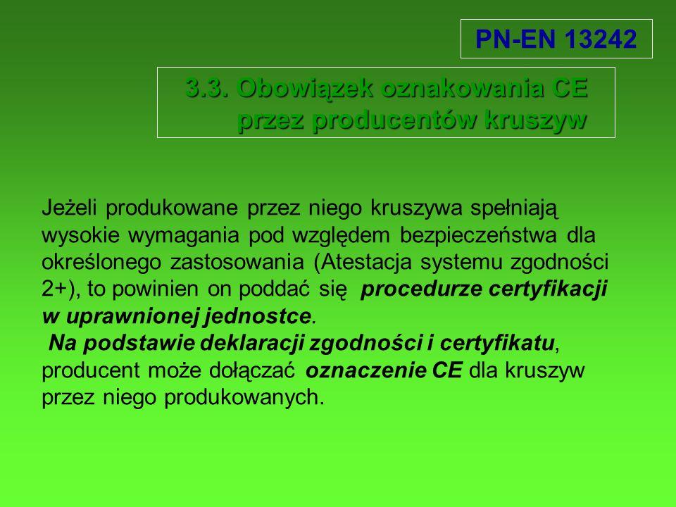 3.3. Obowiązek oznakowania CE przez producentów kruszyw Jeżeli produkowane przez niego kruszywa spełniają wysokie wymagania pod względem bezpieczeństw