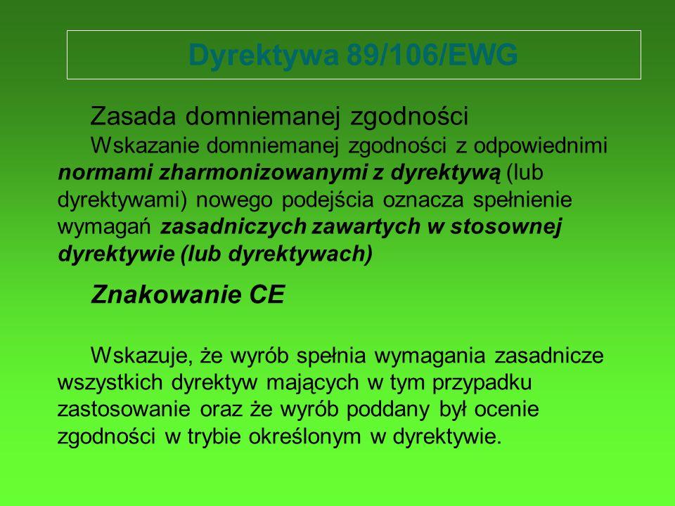 Dyrektywa 89/106/EWG Znakowanie CE Wskazuje, że wyrób spełnia wymagania zasadnicze wszystkich dyrektyw mających w tym przypadku zastosowanie oraz że w
