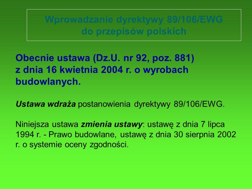 Wprowadzanie dyrektywy 89/106/EWG do przepisów polskich Obecnie ustawa (Dz.U. nr 92, poz. 881) z dnia 16 kwietnia 2004 r. o wyrobach budowlanych. Usta