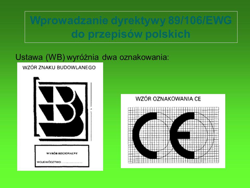Wprowadzanie dyrektywy 89/106/EWG do przepisów polskich Ustawa (WB) wyróżnia dwa oznakowania: