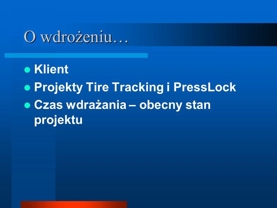 O wdrożeniu… Klient Projekty Tire Tracking i PressLock Czas wdrażania – obecny stan projektu