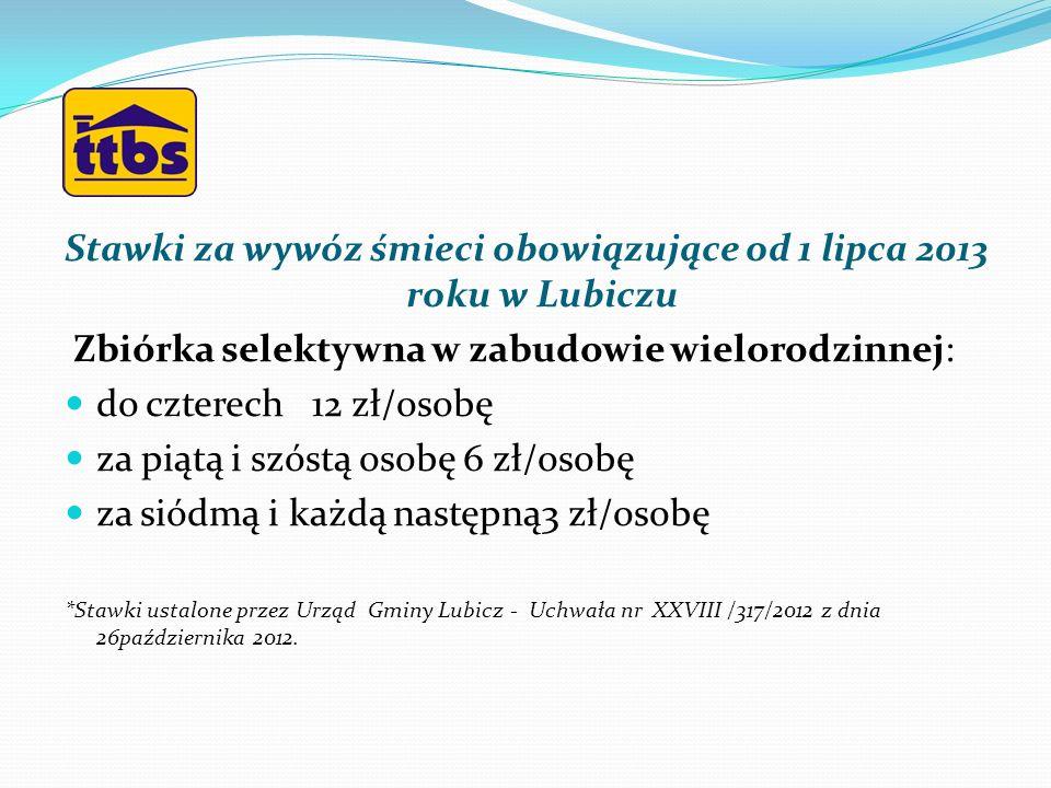 Stawki za wywóz śmieci obowiązujące od 1 lipca 2013 roku w Lubiczu Zbiórka selektywna w zabudowie wielorodzinnej: do czterech 12 zł/osobę za piątą i s