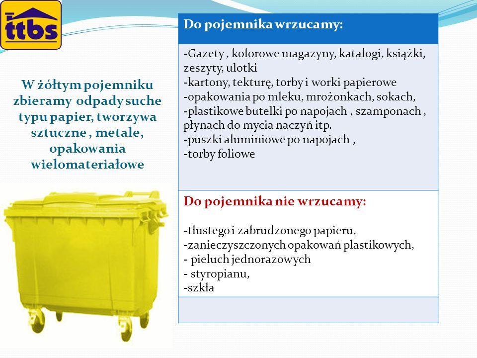 W żółtym pojemniku zbieramy odpady suche typu papier, tworzywa sztuczne, metale, opakowania wielomateriałowe Do pojemnika wrzucamy : -Gazety, kolorowe