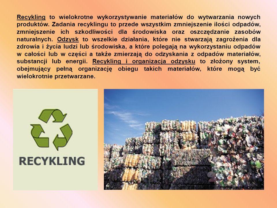 Recykling to wielokrotne wykorzystywanie materiałów do wytwarzania nowych produktów.