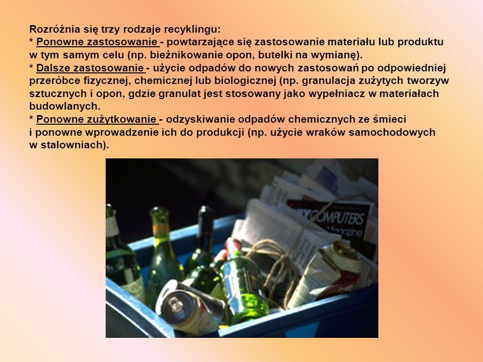Rozróżnia się trzy rodzaje recyklingu: * Ponowne zastosowanie - powtarzające się zastosowanie materiału lub produktu w tym samym celu (np.