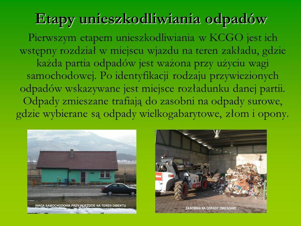 Etapy unieszkodliwiania odpadów Pierwszym etapem unieszkodliwiania w KCGO jest ich wstępny rozdział w miejscu wjazdu na teren zakładu, gdzie każda partia odpadów jest ważona przy użyciu wagi samochodowej.