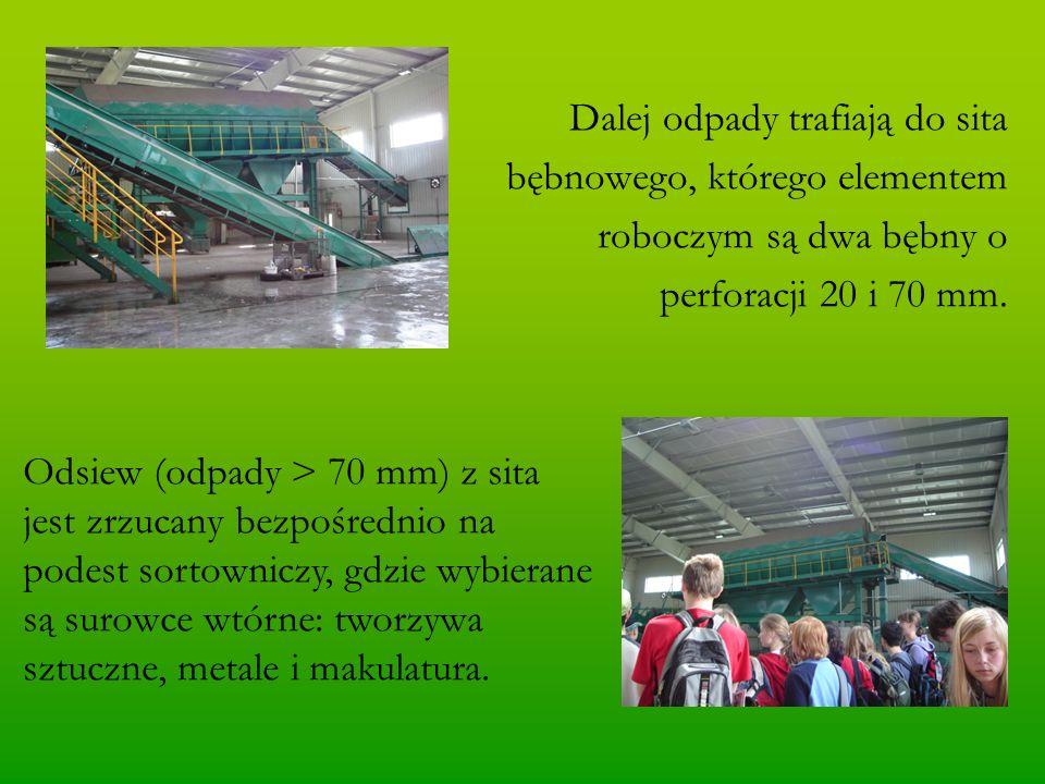 Dalej odpady trafiają do sita bębnowego, którego elementem roboczym są dwa bębny o perforacji 20 i 70 mm.