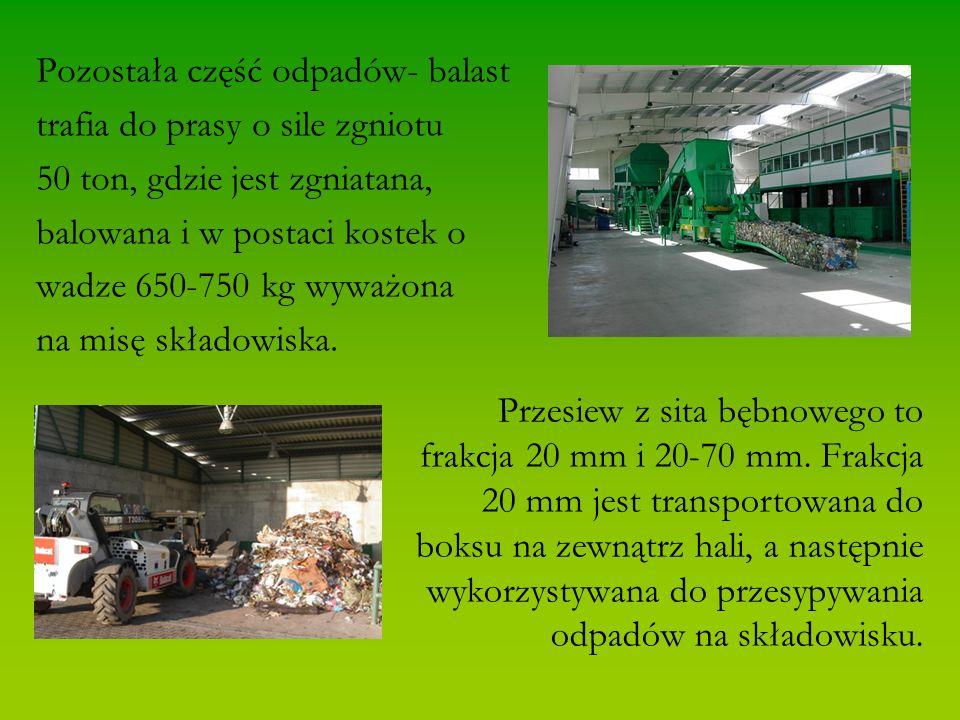 Pozostała część odpadów- balast trafia do prasy o sile zgniotu 50 ton, gdzie jest zgniatana, balowana i w postaci kostek o wadze 650-750 kg wyważona na misę składowiska.