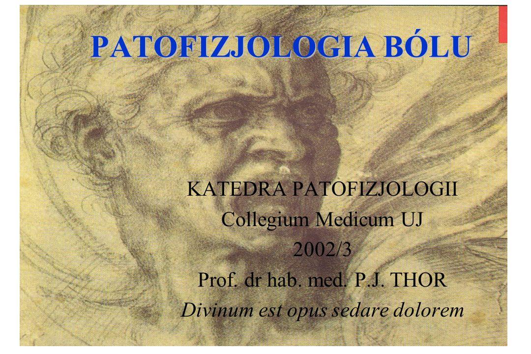 PATOFIZJOLOGIA BÓLU KATEDRA PATOFIZJOLOGII Collegium Medicum UJ 2002/3 Prof. dr hab. med. P.J. THOR Divinum est opus sedare dolorem