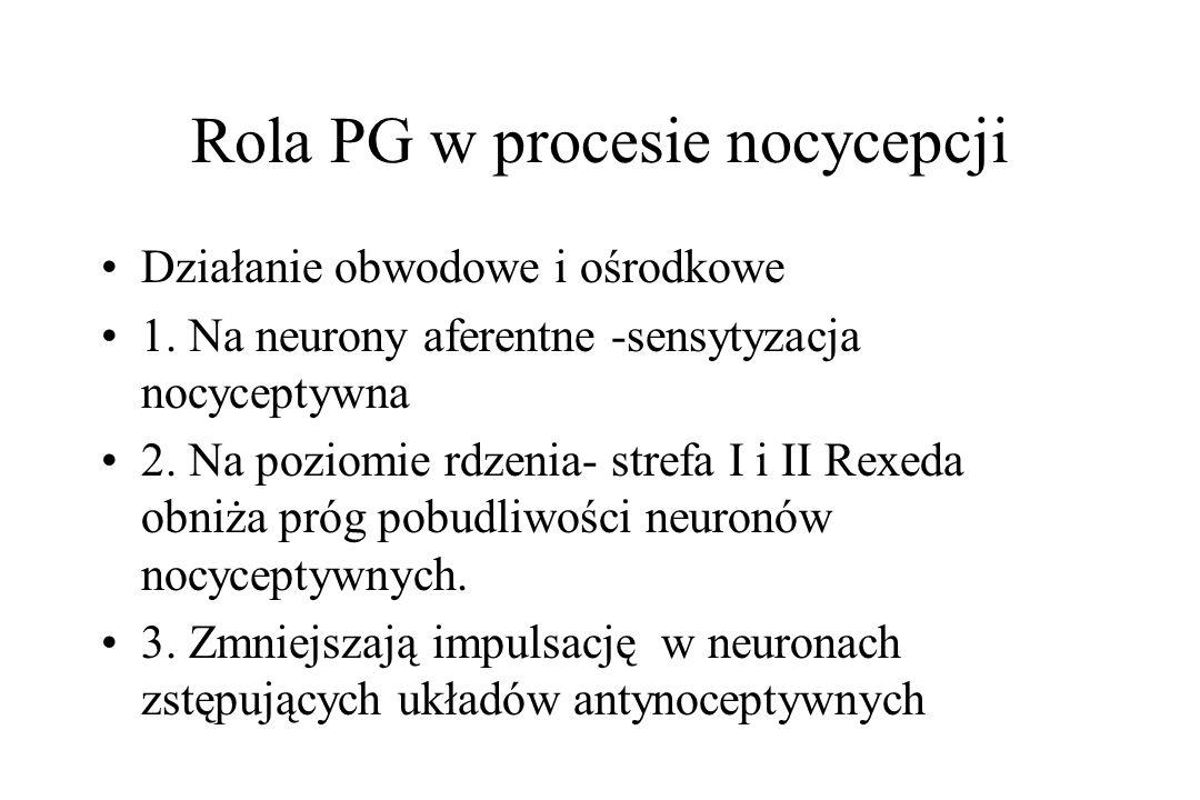 Rola PG w procesie nocycepcji Działanie obwodowe i ośrodkowe 1. Na neurony aferentne -sensytyzacja nocyceptywna 2. Na poziomie rdzenia- strefa I i II