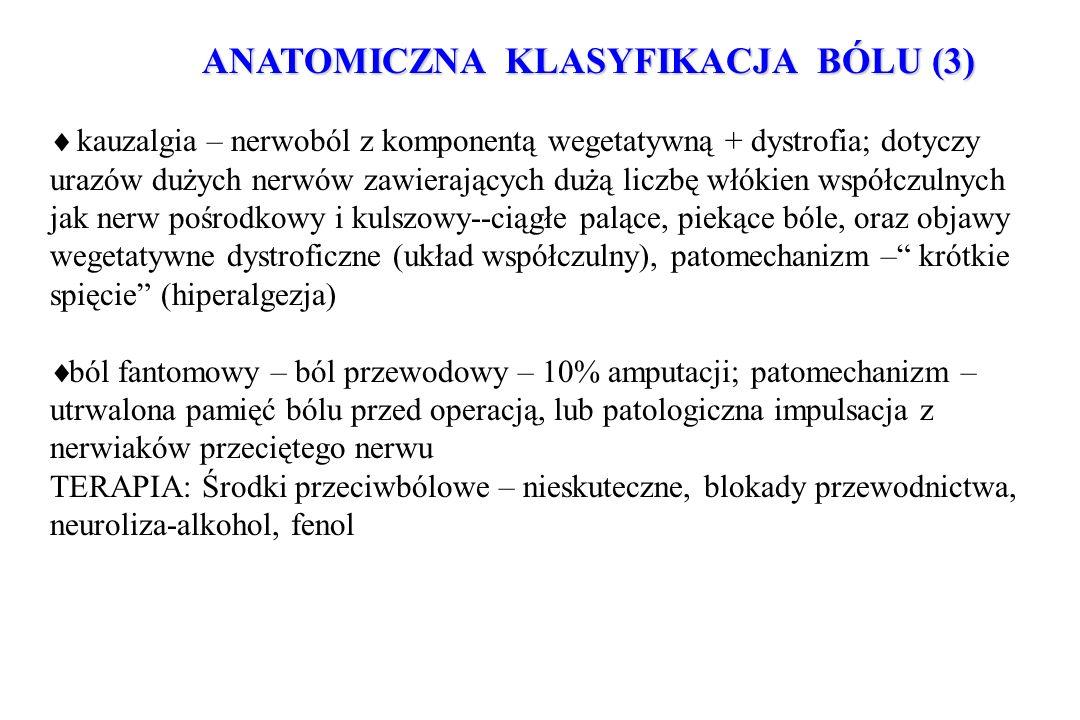 ANATOMICZNA KLASYFIKACJA BÓLU (3) kauzalgia – nerwoból z komponentą wegetatywną + dystrofia; dotyczy urazów dużych nerwów zawierających dużą liczbę wł