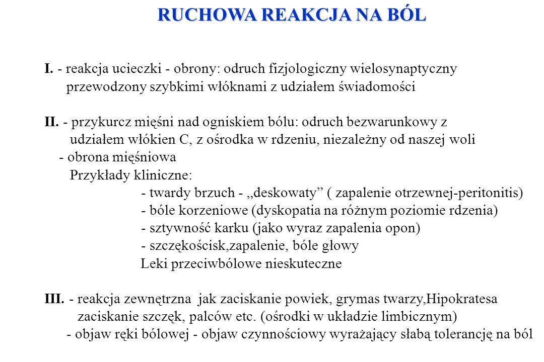 RUCHOWA REAKCJA NA BÓL I. - reakcja ucieczki - obrony: odruch fizjologiczny wielosynaptyczny przewodzony szybkimi włóknami z udziałem świadomości II.