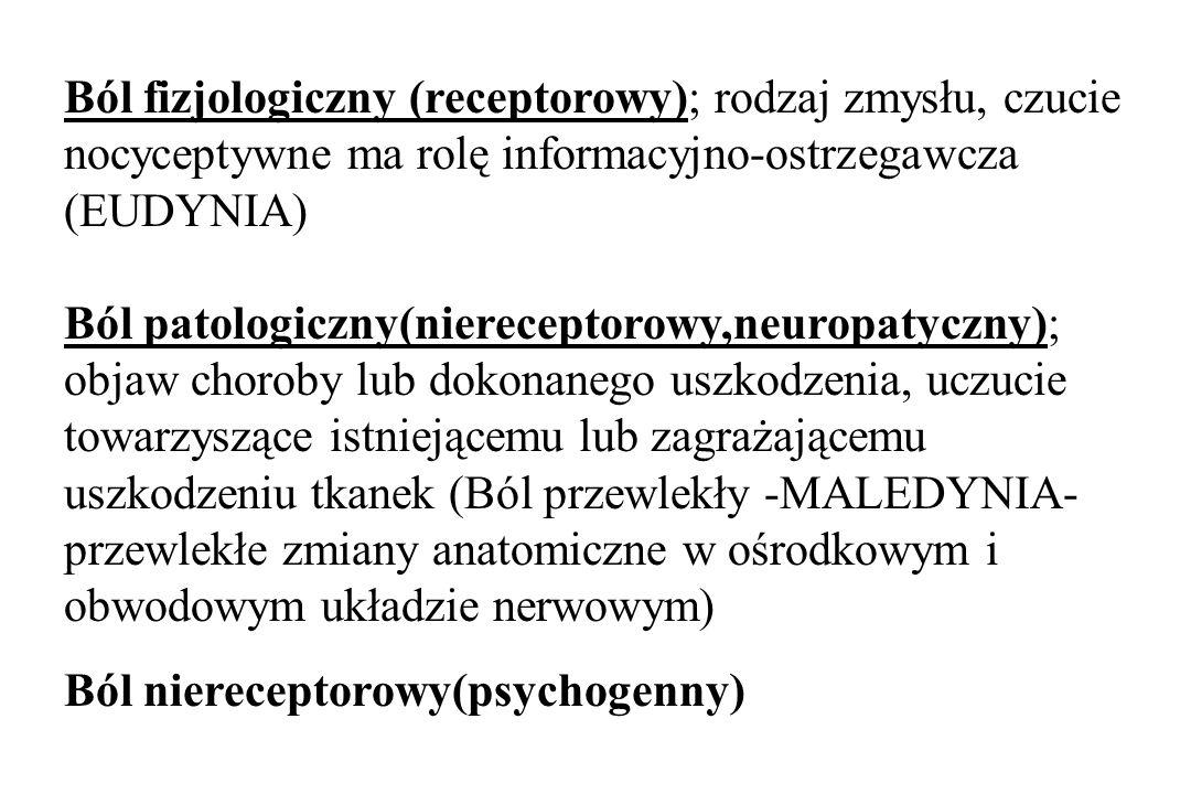 REAKCJA NA BÓL Psychiczna: cierpienie, lęk, depresje Ruchowa: ucieczka, obrona przed działaniem bodźca bólowego przykurcz mięśnia nad ogniskiem bólu (obrona mięśniowa) wyraz twarzy (twarz Hipokratesa) Wegetatywna (przez podwzgórze) układ krążenia – przyspieszenie rytmu serca (Mannkopfa- Rumpfa) układ oddechowy – wstrzymanie oddechu przewód pokarmowy – biegunka, zaparcie nerka – diureza rozszerzenie źrenic, pocenie się, łzawienie- objaw Parrota Wewnątrzwydzielnicza Ból stres – reakcja alarmowa Ból układ limbiczny – podwzgórze – przysadka, ACTH - GH Ból- nadnercza – steroidy, katecholaminy, enkefaliny
