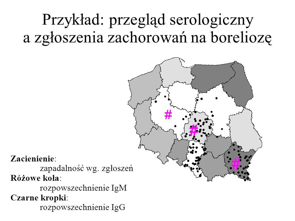 Przykład: przegląd serologiczny a zgłoszenia zachorowań na boreliozę Zacienienie: zapadalność wg.