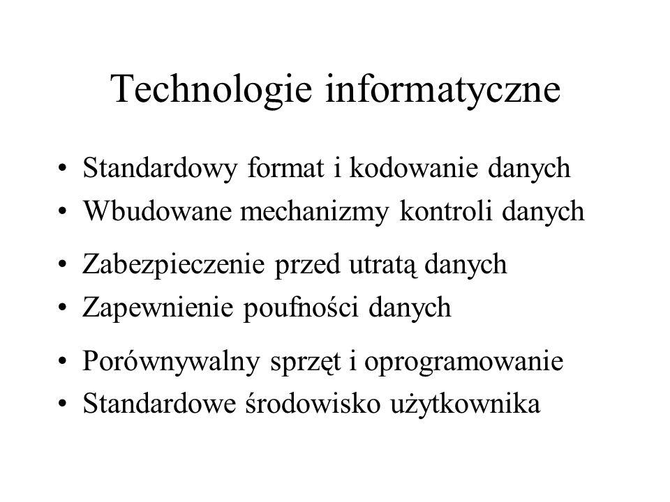 Technologie informatyczne Standardowy format i kodowanie danych Wbudowane mechanizmy kontroli danych Zabezpieczenie przed utratą danych Zapewnienie poufności danych Porównywalny sprzęt i oprogramowanie Standardowe środowisko użytkownika