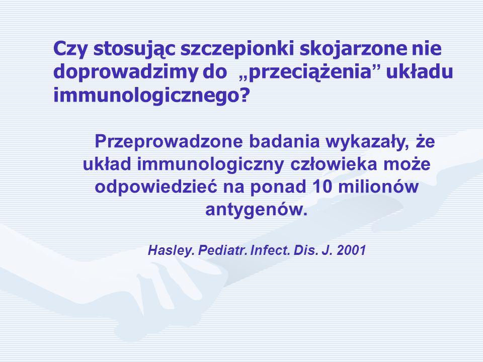 Przeprowadzone badania wykazały, że układ immunologiczny człowieka może odpowiedzieć na ponad 10 milionów antygenów. Hasley. Pediatr. Infect. Dis. J.