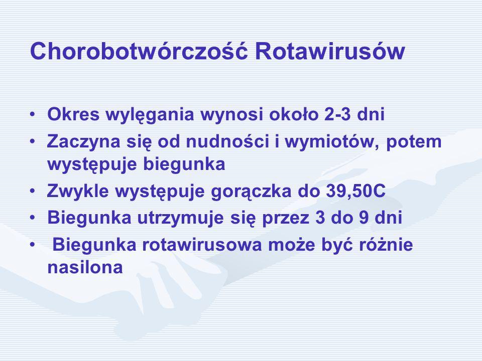 Chorobotwórczość Rotawirusów Okres wylęgania wynosi około 2-3 dni Zaczyna się od nudności i wymiotów, potem występuje biegunka Zwykle występuje gorącz
