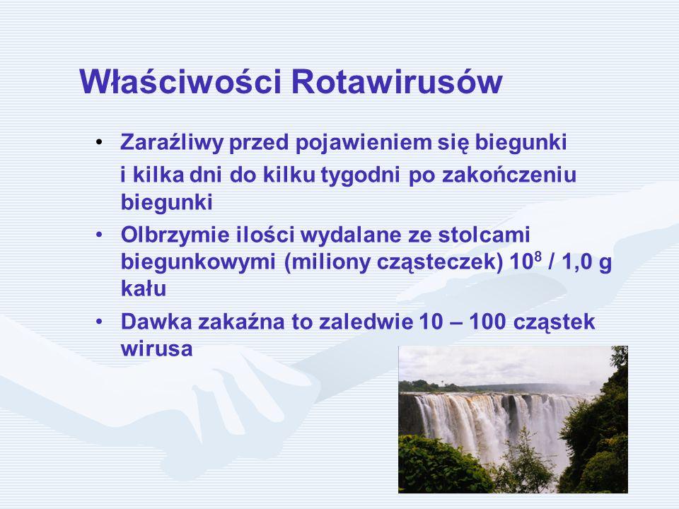 Właściwości Rotawirusów Zaraźliwy przed pojawieniem się biegunki i kilka dni do kilku tygodni po zakończeniu biegunki Olbrzymie ilości wydalane ze sto