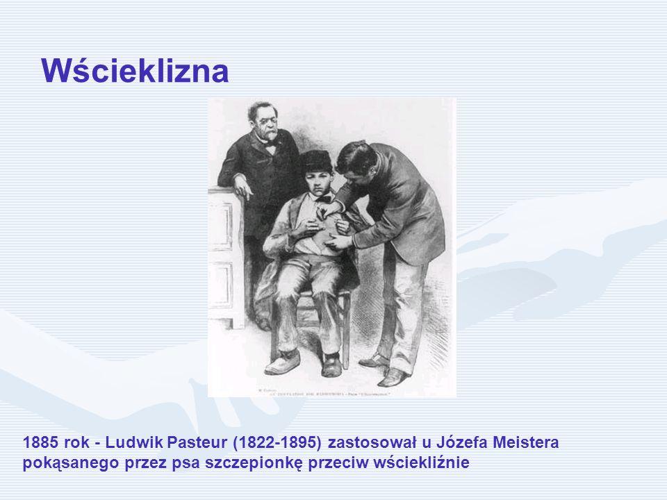 Wścieklizna 1885 rok - Ludwik Pasteur (1822-1895) zastosował u Józefa Meistera pokąsanego przez psa szczepionkę przeciw wściekliźnie