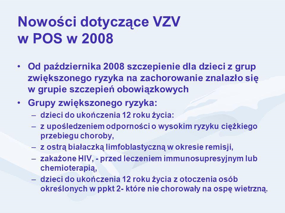 Nowości dotyczące VZV w POS w 2008 Od października 2008 szczepienie dla dzieci z grup zwiększonego ryzyka na zachorowanie znalazło się w grupie szczep
