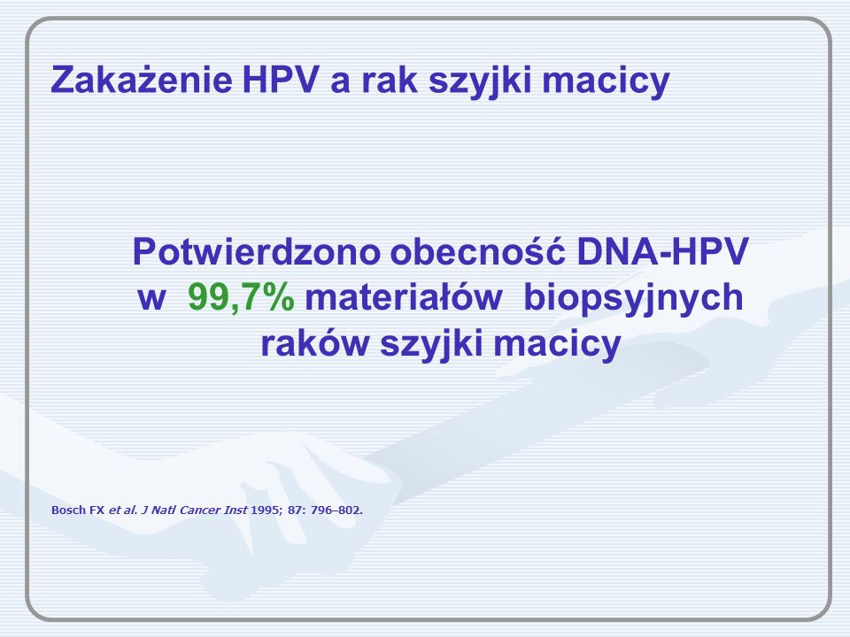 Zakażenie HPV a rak szyjki macicy Potwierdzono obecność DNA-HPV w 99,7% materiałów biopsyjnych raków szyjki macicy Bosch FX et al. J Natl Cancer Inst