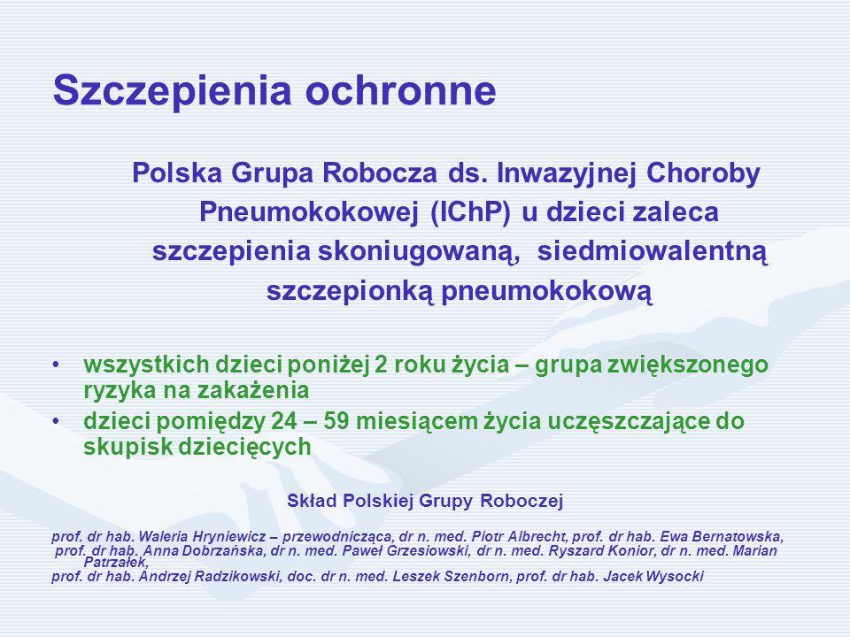 Szczepienia ochronne Polska Grupa Robocza ds. Inwazyjnej Choroby Pneumokokowej (IChP) u dzieci zaleca szczepienia skoniugowaną, siedmiowalentną szczep