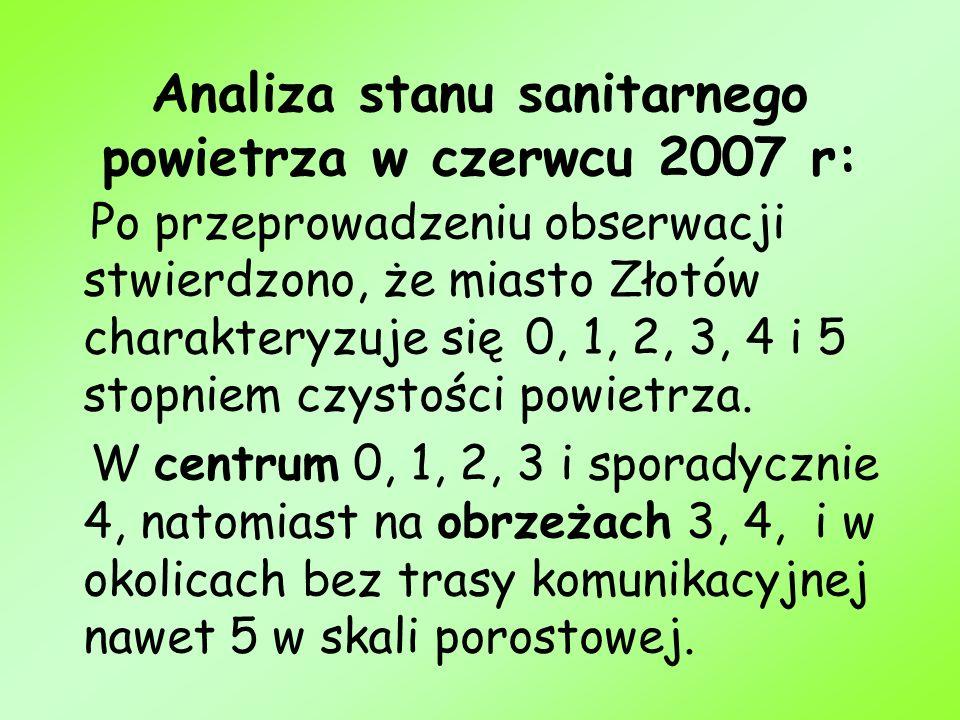 Analiza stanu sanitarnego powietrza w czerwcu 2007 r: Po przeprowadzeniu obserwacji stwierdzono, że miasto Złotów charakteryzuje się 0, 1, 2, 3, 4 i 5
