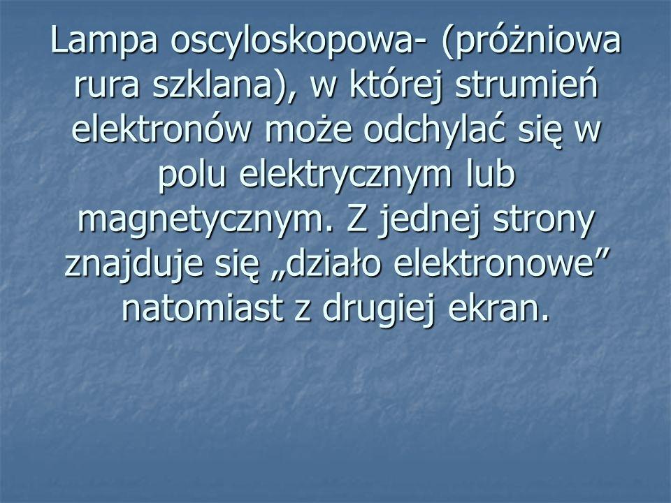 Lampa oscyloskopowa- (próżniowa rura szklana), w której strumień elektronów może odchylać się w polu elektrycznym lub magnetycznym. Z jednej strony zn