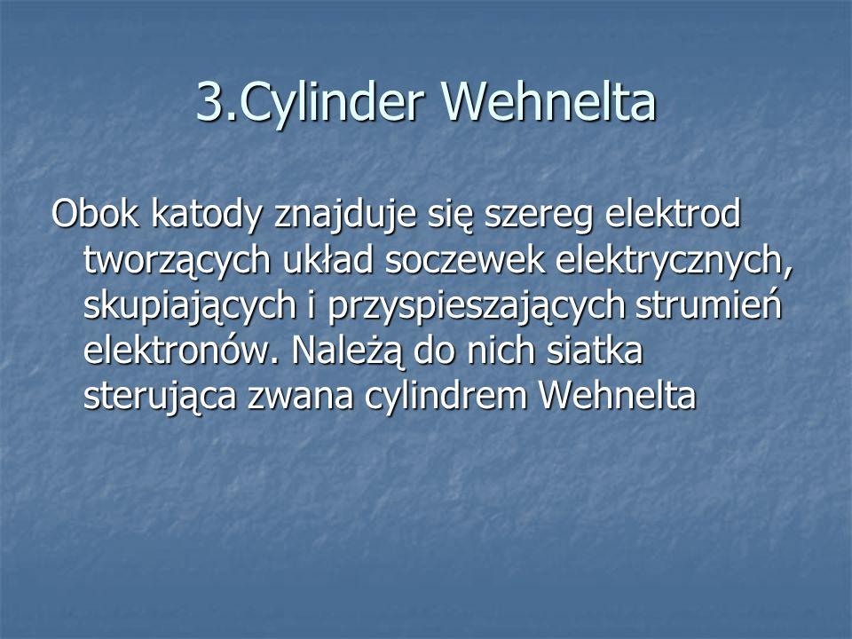 3.Cylinder Wehnelta Obok katody znajduje się szereg elektrod tworzących układ soczewek elektrycznych, skupiających i przyspieszających strumień elektr