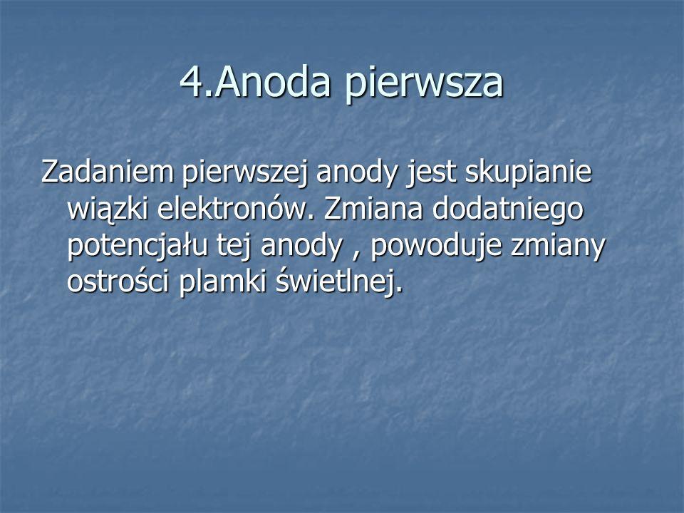4.Anoda pierwsza Zadaniem pierwszej anody jest skupianie wiązki elektronów. Zmiana dodatniego potencjału tej anody, powoduje zmiany ostrości plamki św