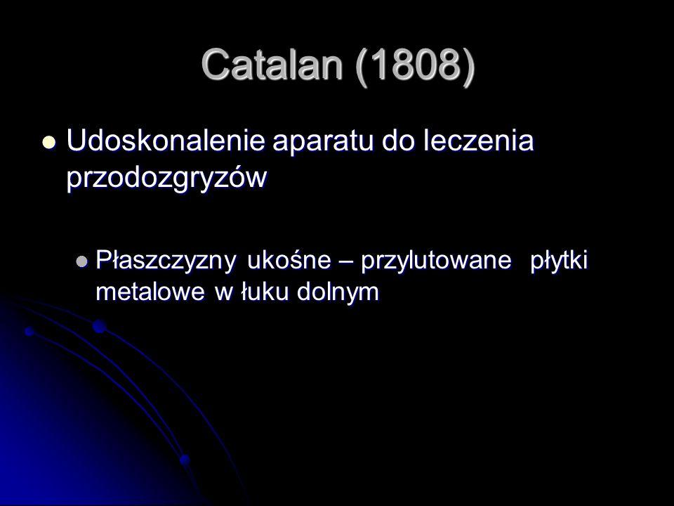 Catalan (1808) Udoskonalenie aparatu do leczenia przodozgryzów Udoskonalenie aparatu do leczenia przodozgryzów Płaszczyzny ukośne – przylutowane płytk