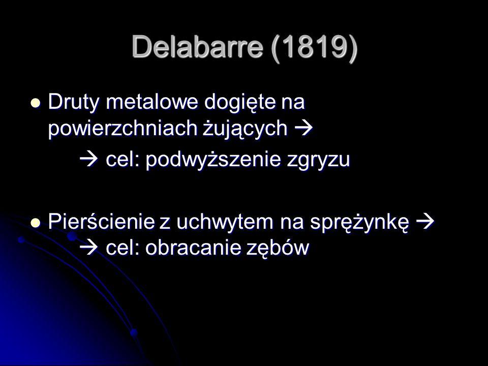 Delabarre (1819) Druty metalowe dogięte na powierzchniach żujących Druty metalowe dogięte na powierzchniach żujących cel: podwyższenie zgryzu cel: pod