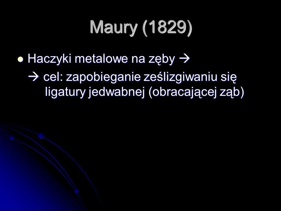 Maury (1829) Haczyki metalowe na zęby Haczyki metalowe na zęby cel: zapobieganie ześlizgiwaniu się ligatury jedwabnej (obracającej ząb) cel: zapobiega