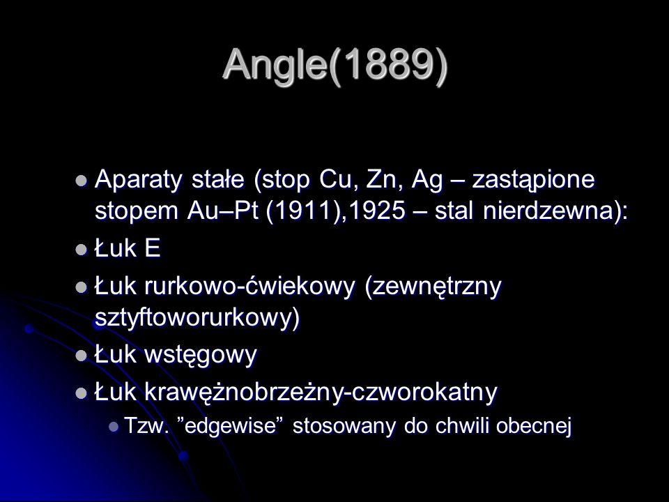 Angle(1889) Aparaty stałe (stop Cu, Zn, Ag – zastąpione stopem Au–Pt (1911),1925 – stal nierdzewna): Aparaty stałe (stop Cu, Zn, Ag – zastąpione stope