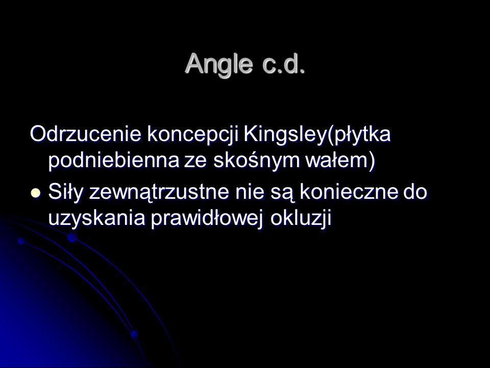 Angle c.d. Odrzucenie koncepcji Kingsley(płytka podniebienna ze skośnym wałem) Siły zewnątrzustne nie są konieczne do uzyskania prawidłowej okluzji Si
