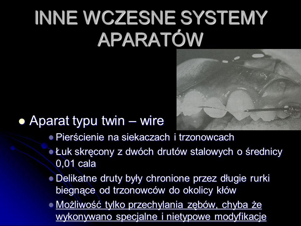Aparat typu twin – wire Aparat typu twin – wire Pierścienie na siekaczach i trzonowcach Pierścienie na siekaczach i trzonowcach Łuk skręcony z dwóch d