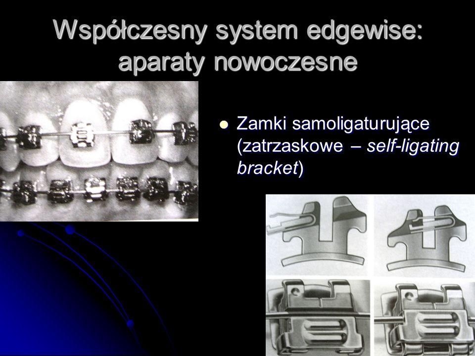 Współczesny system edgewise: aparaty nowoczesne Zamki samoligaturujące (zatrzaskowe – self-ligating bracket) Zamki samoligaturujące (zatrzaskowe – sel