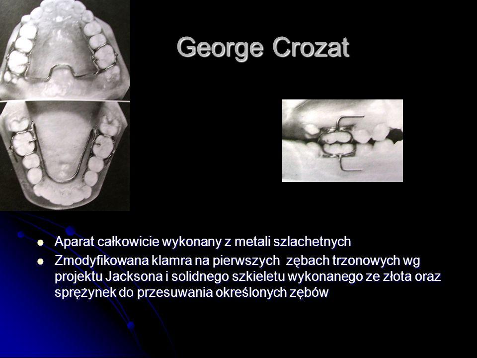 George Crozat Aparat całkowicie wykonany z metali szlachetnych Aparat całkowicie wykonany z metali szlachetnych Zmodyfikowana klamra na pierwszych zęb