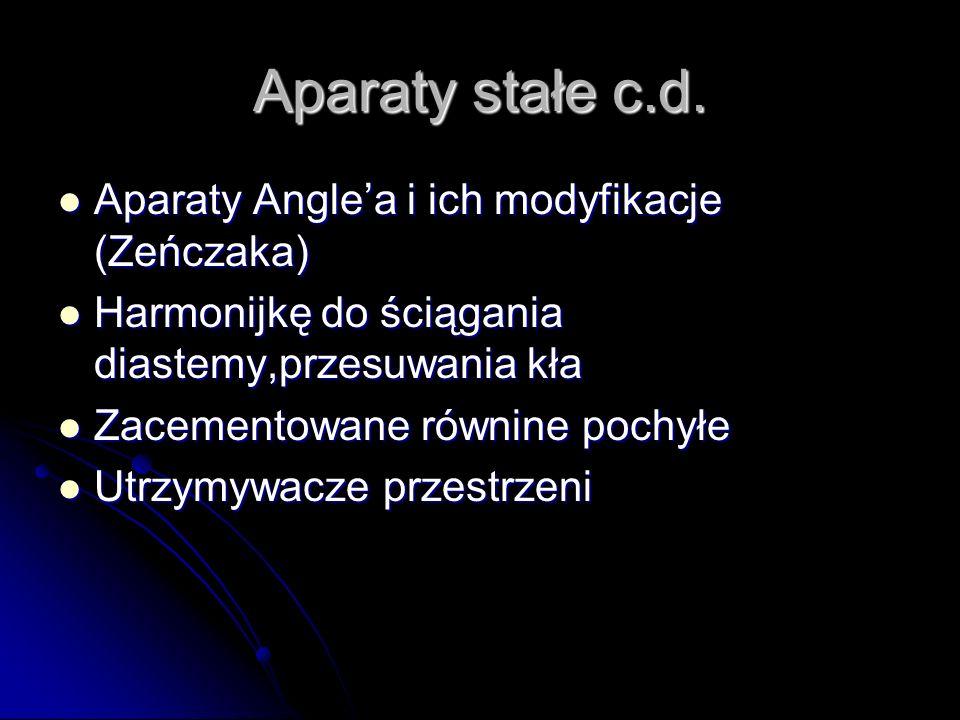 Aparaty stałe c.d. Aparaty Anglea i ich modyfikacje (Zeńczaka) Aparaty Anglea i ich modyfikacje (Zeńczaka) Harmonijkę do ściągania diastemy,przesuwani