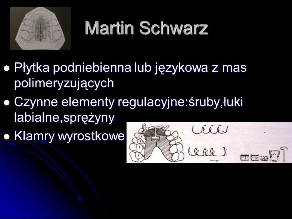 Martin Schwarz Płytka podniebienna lub językowa z mas polimeryzujących Płytka podniebienna lub językowa z mas polimeryzujących Czynne elementy regulac
