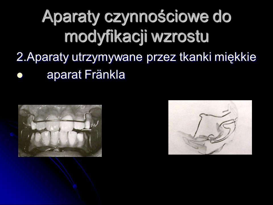 Aparaty czynnościowe do modyfikacji wzrostu 2.Aparaty utrzymywane przez tkanki miękkie aparat Fränkla aparat Fränkla