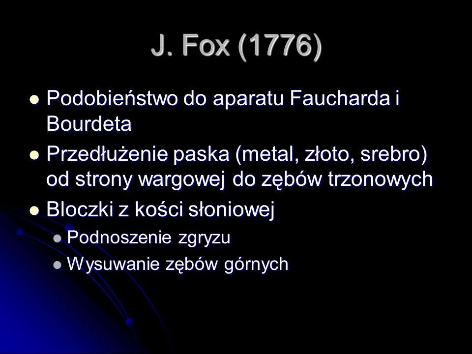 J. Fox (1776) Podobieństwo do aparatu Faucharda i Bourdeta Podobieństwo do aparatu Faucharda i Bourdeta Przedłużenie paska (metal, złoto, srebro) od s