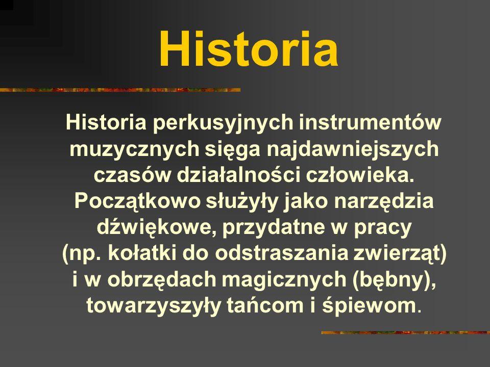 Historia Historia perkusyjnych instrumentów muzycznych sięga najdawniejszych czasów działalności człowieka.